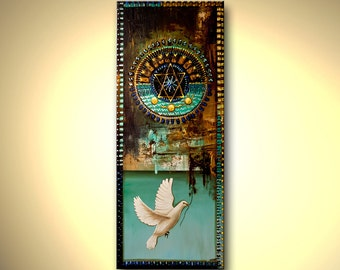 """Judaica Print on Canvas Magen David Shield LIMITED EDITION 2 of 50 Stretched Embellished (brush strokes are added by the artist) Osnat 56"""""""