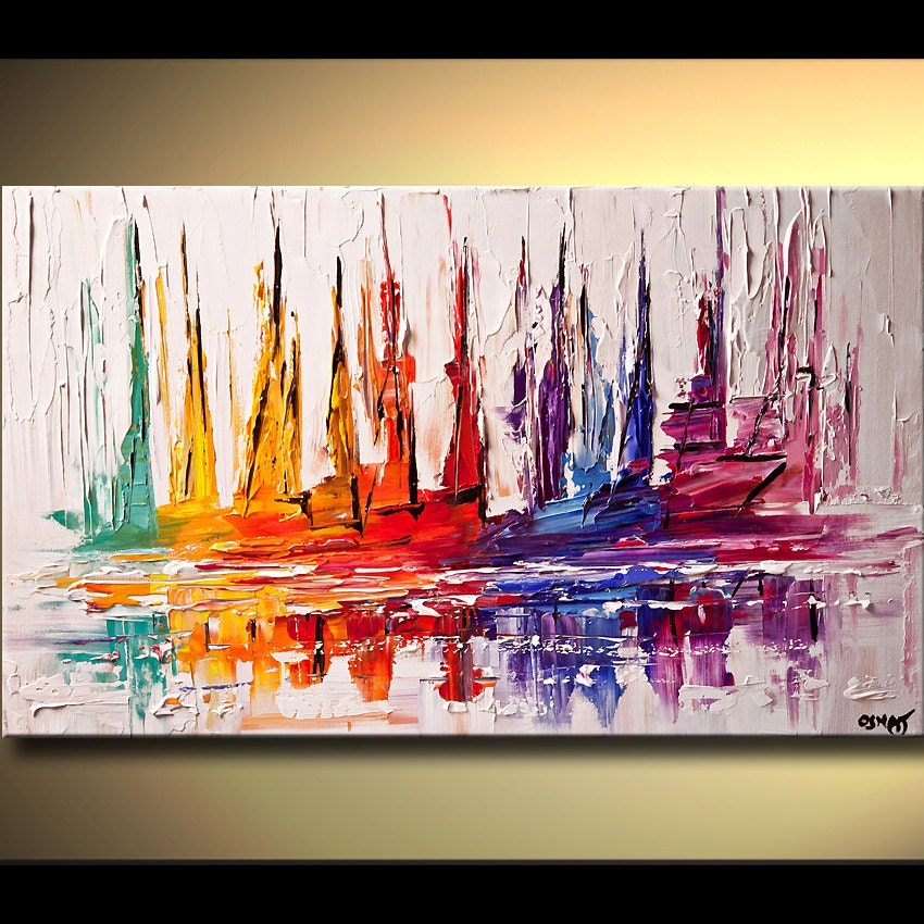 Sail boat art original contemporary modern abstract seascape for Contemporary mural art