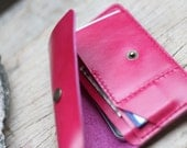 S-Pink leather iphone wallet