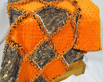 Camoflauge and Minky Baby Rag Quilt