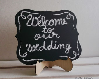 Wedding Chalkboard Rectangular Scroll Sturdy Wooden Chalk Board Wedding Sign Photo Prop Menu Table Centerpiece