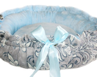 XS Gray Damask Couture Pet Bed with Baby Blue Minky