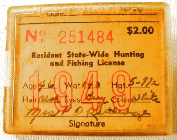 Vintage west virginia fishing hunting license 1949 very nice for Texas non resident fishing license cost