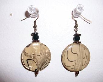 Golden Glass Beads Dangle Earrings