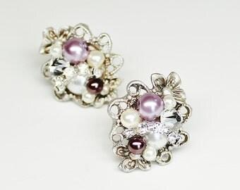 Purple Stud Earrings- Pearl and Rhinestone Studs- Amethyst Earrings- Vintage-Inspired Statement Studs- Eggplant Earrings-Brass boheme