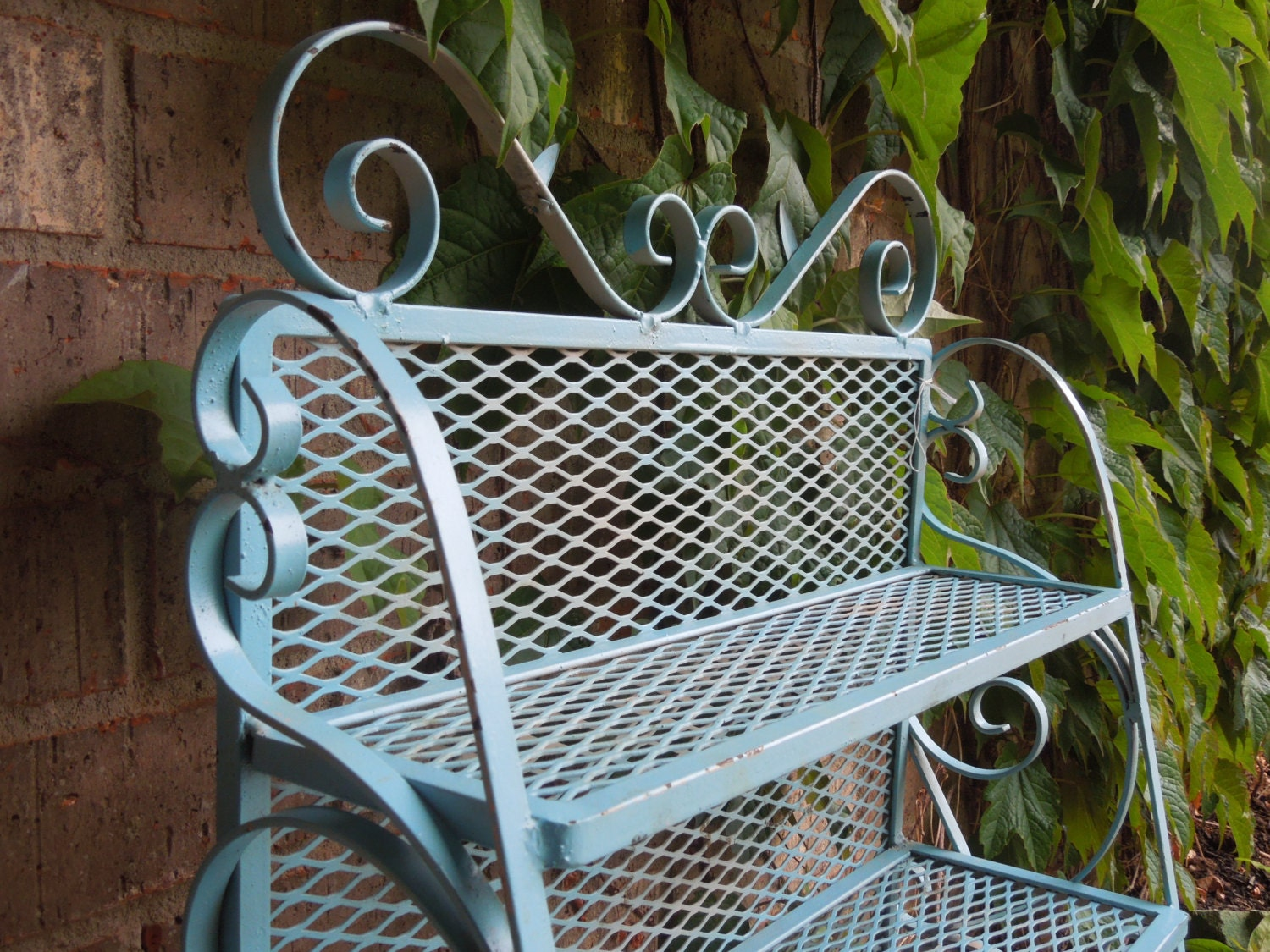 vintage wrought iron plant stand wrought iron shelf patio. Black Bedroom Furniture Sets. Home Design Ideas