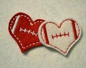 Football Heart felt feltie Embroidery design - Instant Download