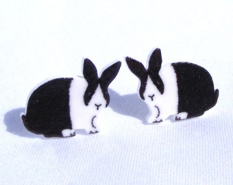Dutch Rabbit Earrings Hand drawn