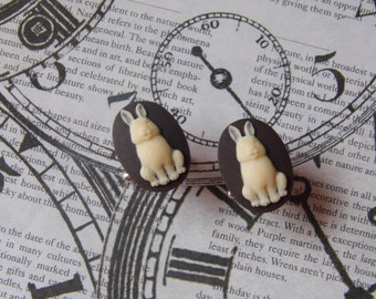 Sexy Chocolate Bunny Cameo Sterling Silver Plated Kitsch art designer Cameo Cufflinks Mens or Ladies
