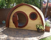 Hobbit Hole Playhouse Kit WITH cedar plank roofing: outdoor wooden kids playhouse with round front door and windows, made to order