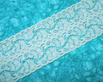 White Stretch lace, 1 yard of 2 1/2 inch White Stretch elastic lace for headband, lingerie, garter, hair by MarlenesAttic - Item WN