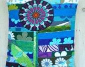lolly flower vintage fabric applique patchwork pillow