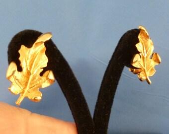 Gold Leaf Clip Earrings.