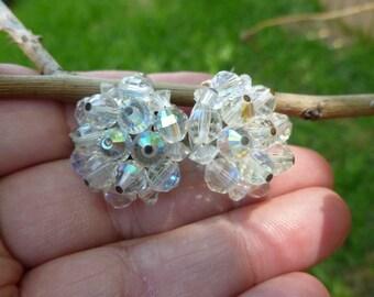 Laguna white flowered clip earrings.