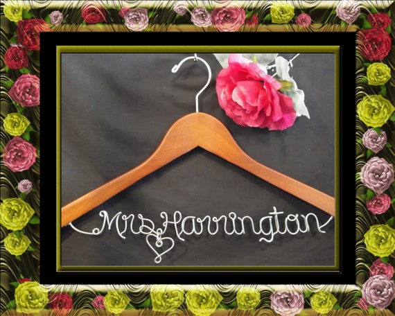 Wedding Hanger, Personalized Custom Bridal Hanger, Brides Hanger, Bride, Name Hanger,  Personalized Bridal Gift