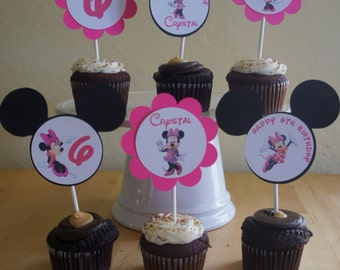 Minnie Mouse (pink) Cupcake Toppers