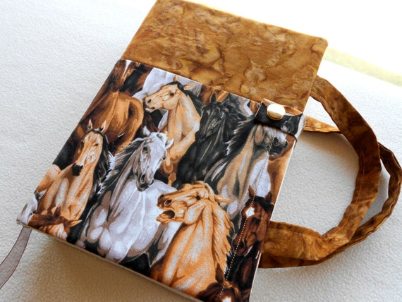 Horses themed purse style book or Bible cover with bookmark and 3 pockets.
