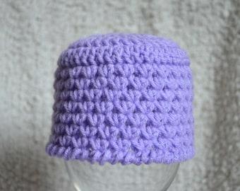 Crocheted Trinity Stitch Light Purple Hat 0-3 Months Photo Prop