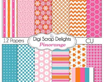 Digital Scrapbooking: Pinorange Digital Papers (Pink, Orange, Turquoise or Aqua  Blue)
