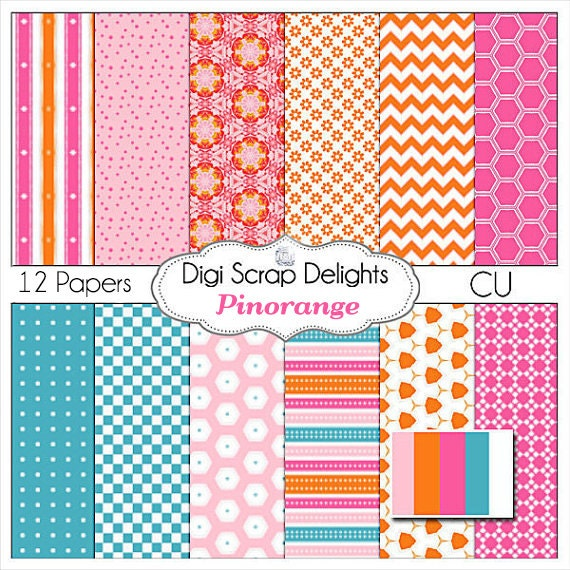 50% Off INDSD Sale Digital Scrapbooking: Pinorange Digital Papers (Pink, Orange, Turquoise or Aqua  Blue)