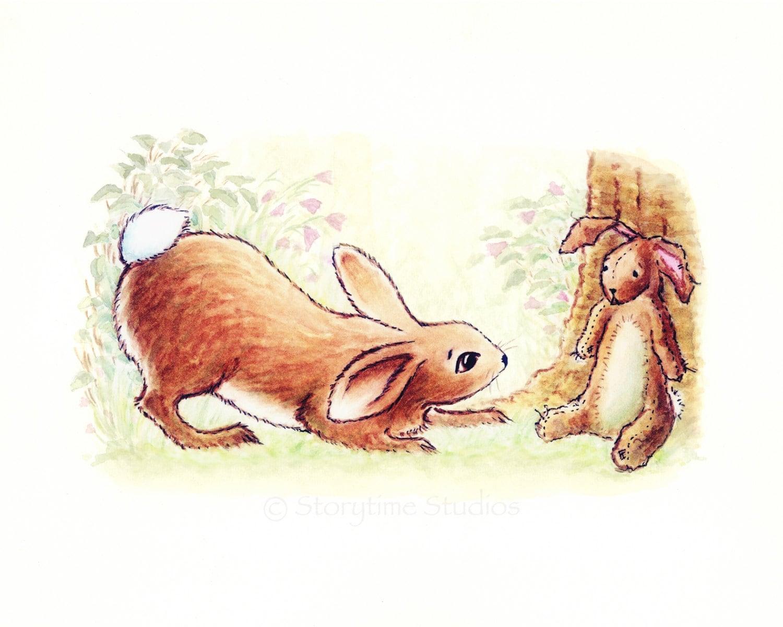 nursery art velveteen rabbit print bunny by storytimestudios