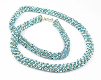 Turquoise and Silver Russian Spiral Necklace