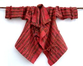 Handwoven Jacket Mohair OOAK Red ,Brown