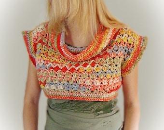 Shrug With Cowl, Crochet Bolero, Teen Cropped Sweater, shrug bolero, Fashion Shrug, crochet shrug, cowl shrug bolero