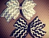 Set of 2...Black and Gray Chevron Print Hairbows...Girls Hairbows...Baby Hairbows...Chevron Print...Bows