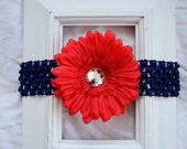 FREE SHIPPING in the U.S. - Navy Blue Crochet Elastic Headband with Removable Red Daisy Flower Hair Clip - For Baby, Girl, Kids - Great Gift
