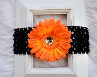 Black Elastic Headband with Removable Orange Daisy Flower Hair Clip Accessory for Babies Girl Baby Shower Birthday Gift Teacher Team