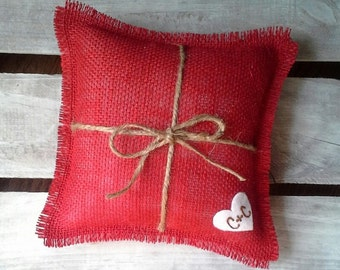 """8"""" x 8"""" Red Burlap Ring Bearer Pillow w/ Jute Twine and Wool Felt Heart-Personalize w/ Initials- Rustic/Country/Shabby Chic/Folk/Wedding"""