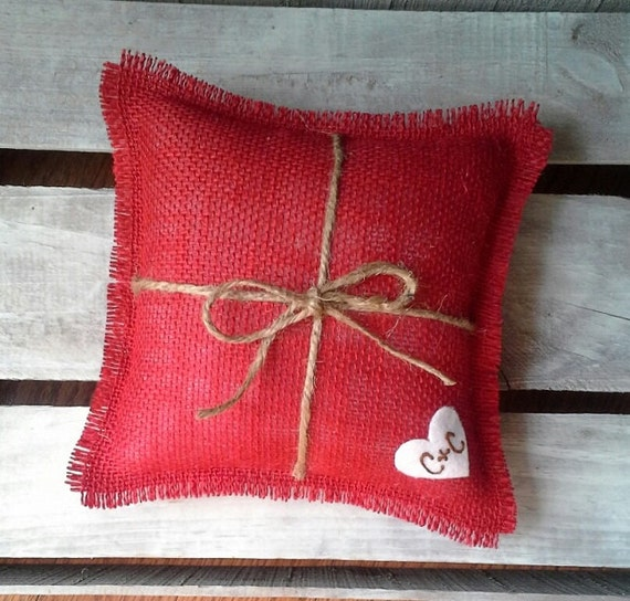 "8"" x 8"" Red Burlap Ring Bearer Pillow w/ Jute Twine and Wool Felt Heart-Personalize w/ Initials- Rustic/Country/Shabby Chic/Folk/Wedding"