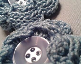 Light Blue Crocheted Flower Clip Set