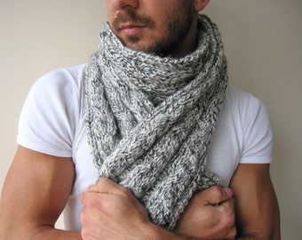 Men's Knitted scarf gray, burgundy Knit-long- infinity scarf-knit scarves - man fashion- women Winter fashion -valentine's day gift for him