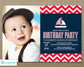 nautical invitation  etsy, Birthday invitations