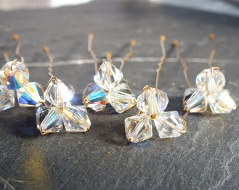 crystal trio hair pin for wedding or prom, set of 5