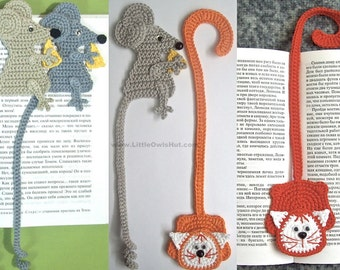 024 Cat and Mouse Bookmarks - Amigurumi Crochet Pattern - PDF file by Zabelina Etsy