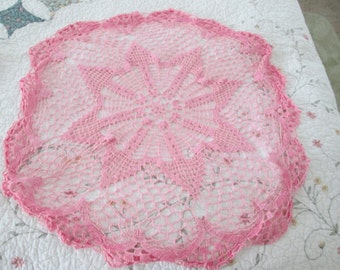 vintage lovely  doily pink large round dresser or table decor.