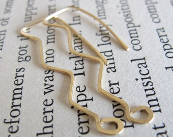Modern Gold Earrings - Elegant Wave Dangle Earrings - Geometric Contemporary Jewelry