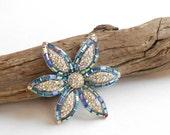 Hattie Carnegie vintage brooch, aurora borealis blue baguette & pave rhinestone flower brooch