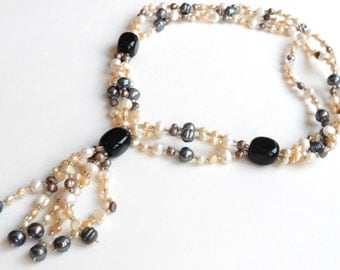 Genuine Pearl Necklace, Freshwater & Tahitian black, peach, pink, purple baroque pearls, 925 clasp