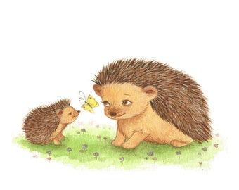 Nursery Art, Hedgehog Art,  Hoggy and Mummy and a Butterfly print from an original watercolor illustration by Irene Owens
