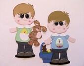 RESERVED FOR KAREN  Easter Buddies - Premade Scrapbook Paper Piecings 2 Little Boys