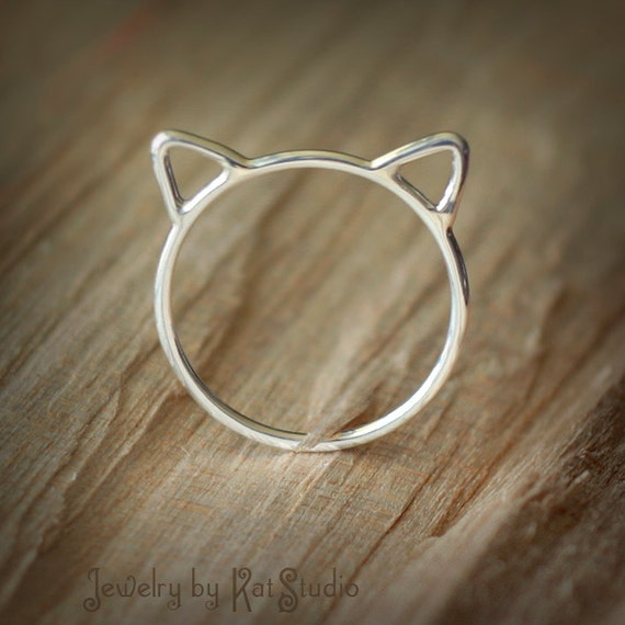 Cat ears ring - Crazy Cat Lady - cat ring - Sterling Silver 925 - Jewelry by Katstudio