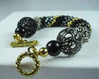 Black Bead Bracelet, Crochet Bracelet, Black and Gold bracelet,