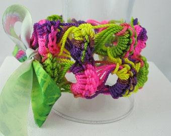 Multicolor Neon Crocheted Bracelet, Crochet, Pink, Purple, Yellow, Green