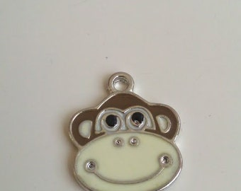 CLEARANCE Monkey Face Enamel Charm 12 Brown / Cream Baby Shower Idea Favor Package Tie on