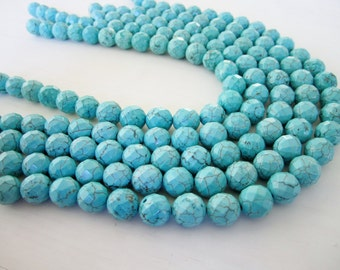 "GB-1171 - Turquoise Magnesite Faceted Round Beads - 8mm Gemstone Beads - 16"" Strand"