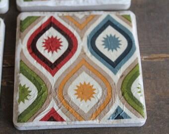 Colorful Diamond Print Tile Coasters